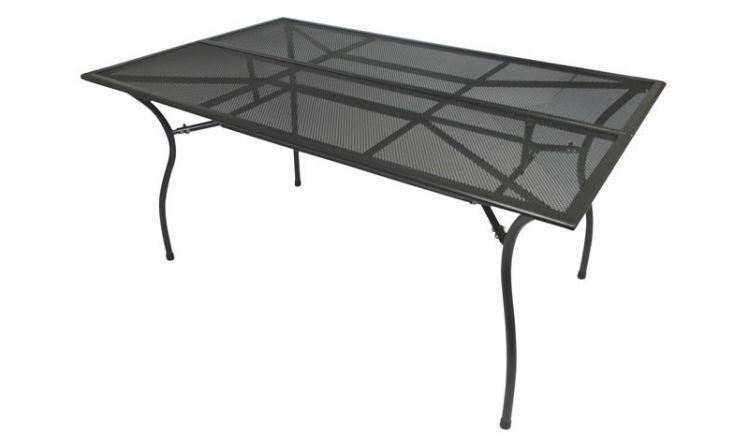 Der gartentisch aus stabilem Streckmetall passt mit einem maß von ca. 150 x 90 x 73 cm auch auf kleinere Terrassen.