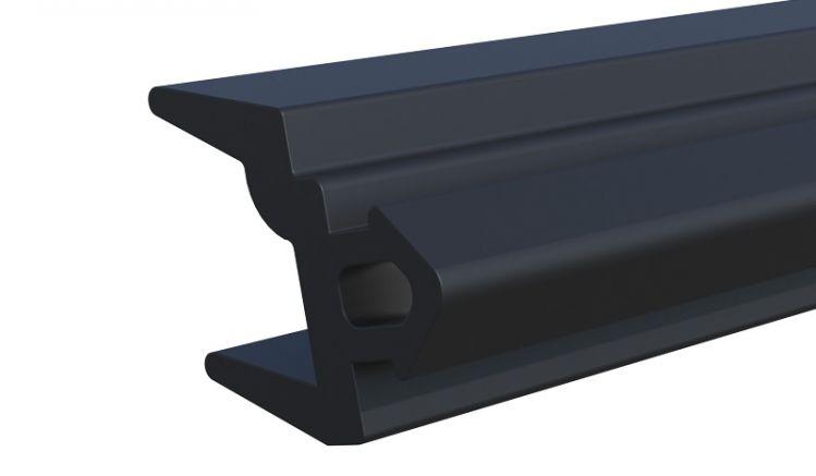 Dichtung aus flexiblem Gummi. Für Montage von 8 mm starken Glaselementen. Farbe: Schwarz