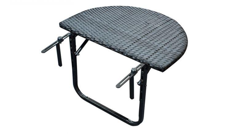 Der Hängetisch Nürnberg ist klappbar und für Balkone und Brüstungen bis 15 cm Dicke geeignet. Er besteht aus einem Metallgestell in Anthrazit und einer Tischplatte aus witterungsbeständigem Polyrattan-Geflecht in Schwarz.