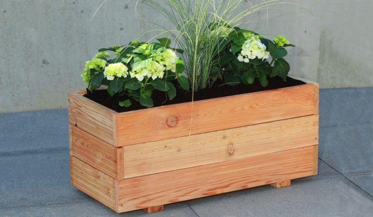 """Der Holz Pflankasten """"Heide"""" aus sibirischer Lärche verschafft Ihrem Garten eine moderne Optik. Maße: 90 x 40 x 40cm;  26 mm Rahmen, inkl. Folieneinsatz"""