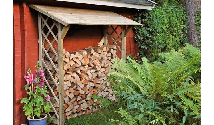 Kaminholzunterstand zum trockenen Lagern von Kaminholz - aus druckimprägniertem, haltbaren Kiefernholz, Bausatz: 79 x 178 x 48/70 cm
