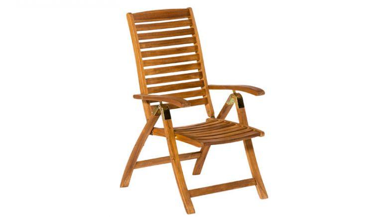 Der Klappsessel Madrid aus Akazie bietet Ihnen einen hohen Sitzkomfort durch die 5-fach verstellbare Rückenlehne.
