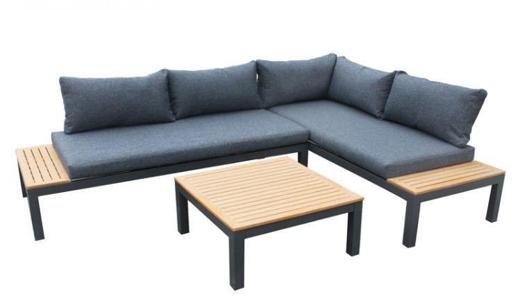 Die wetterbeständige und flexibel stellbare Alu Lounge Langeland ist für den ganzjährigen Außeneinsatz geeignet