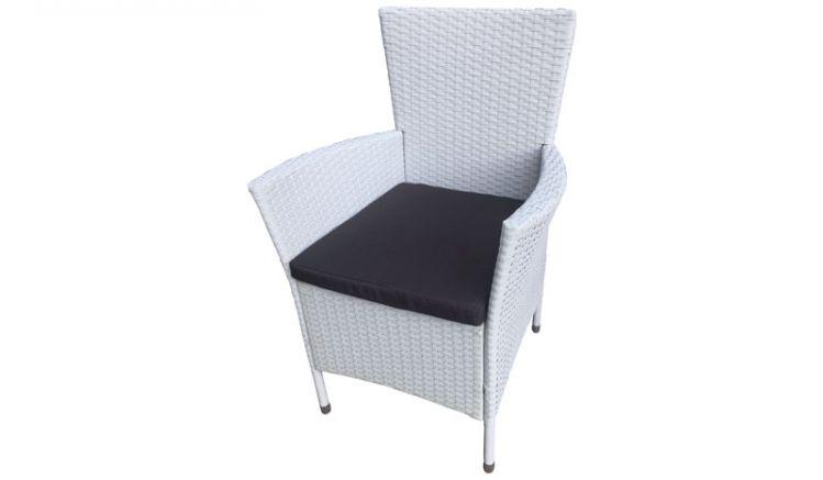 Der Lounge Gartensessel mit weisser Rattanbespannung wird inkl. Sitzkissen und im praktischen 2er Set geliefert.