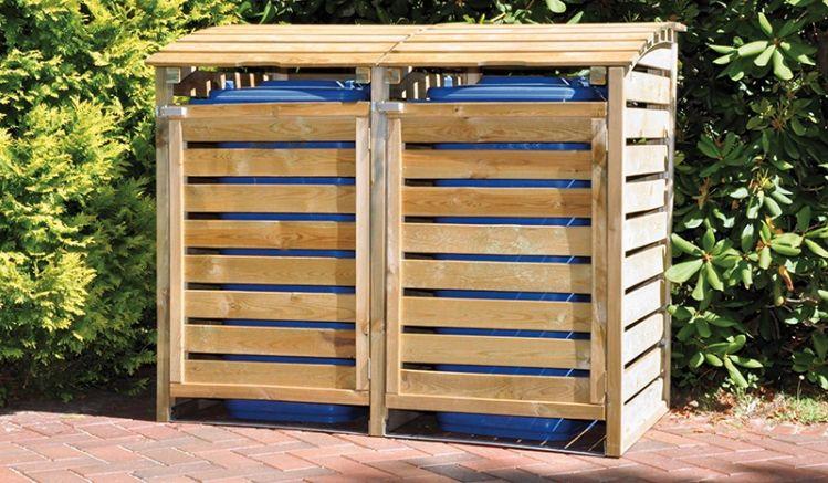 Die zweier Mülltonnen Box:150 x 90 x 120cm, Kiefer, druckimprägniert für bis zu 240 Liter Tonnen