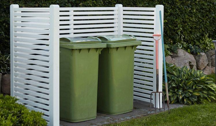 Die dekorative Mülltonnenabtrennung aus Holz ist in Schwarz und Weiß erhältlich. Der Bausatz wird mit Zaunelementen, Beschlägen und Premium-Leimholzpfosten geliefert. Günstige Preise ✔ Top Beratung ✔ Große Auswahl ✔
