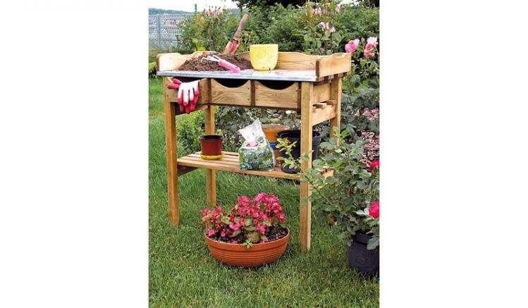Pflanztisch Garten, druckimprägniertem Holz, 80 x 86 x 40cm mit verzinkter Arbeitsfläche und Werkzeugschubladen