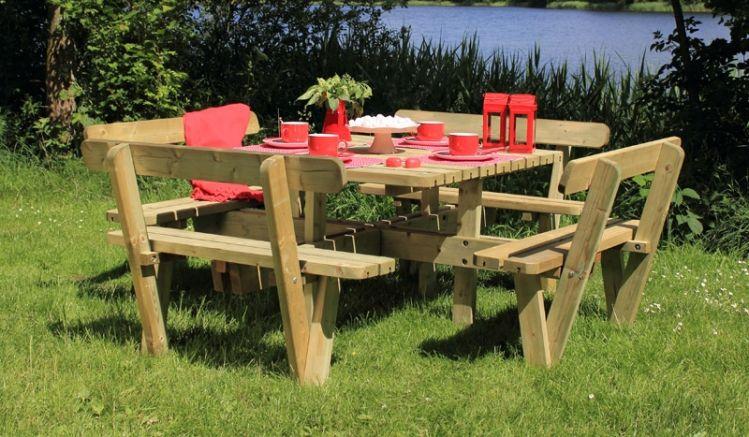 237 x 237 x 84 cm Picknick-Sitzgruppe aus druckimprägniertem skandinavischem Nadelholz mit eckiger Tischplatte