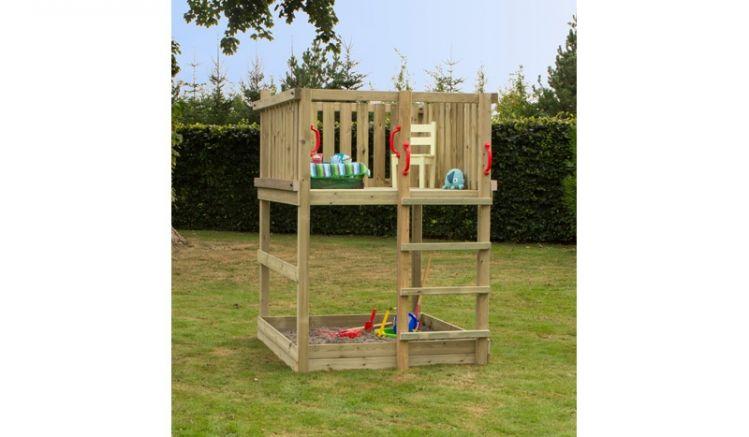 Der Play Spielturm 1 ist ein Bausatz zur Selbstmontage. Die zerlegten Bauteile bestehen aus druckimprägnierter Kiefer/Fichte