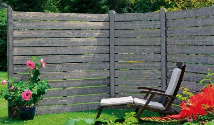 """Die Sichtschutzelemente """"Elbe"""" sind aus silbergrau lasiertem und fungizid vorbehandeltem Kiefer-/Fichtenholz gefertigt. Die ungewöhnliche Farbe sorgt für eine schlichte, aber außergewöhnliche Optik in Ihrem Garten- oder Terrassenbereich."""