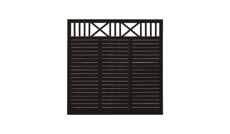 Der schwarze Sichtschutzzaun aus fungizid behandeltem und farbgrundiertem Kiefern-/Fichtenholz sorgt für ein zeitlos-romantisches Erscheinungsbild im Garten. Die sechsteilige Serie basiert auf 4 Zaunfeldern und 2 Einzeltoren