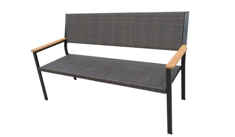 Die Sitzbank mit Lehne Ancona hat das Maß 164 x 66 x 94 cm - 3-Sitzer - gefertigt aus einem Metallgestell mit Kunststoffgeflecht