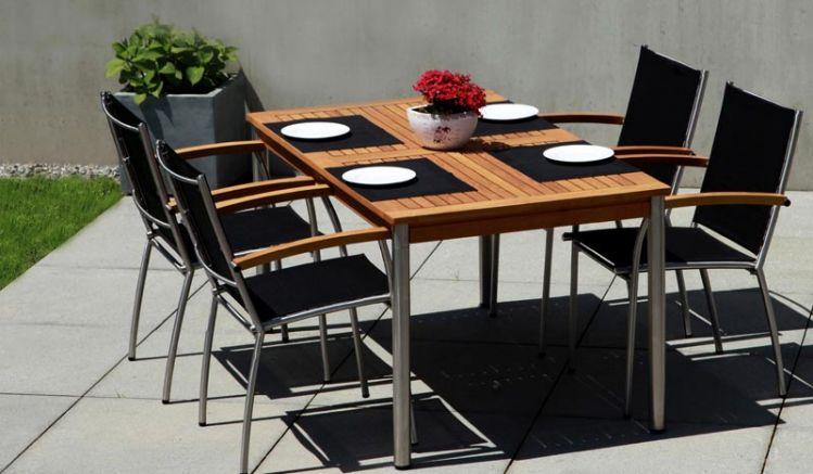 Die Terrassenmöbel Montreal II - hier mit Stapelsessel und Gartentisch Calgary