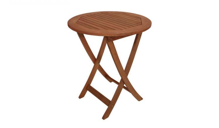 Rundtisch mit 65er Tischplatte und klappbaren Tischbeinen.