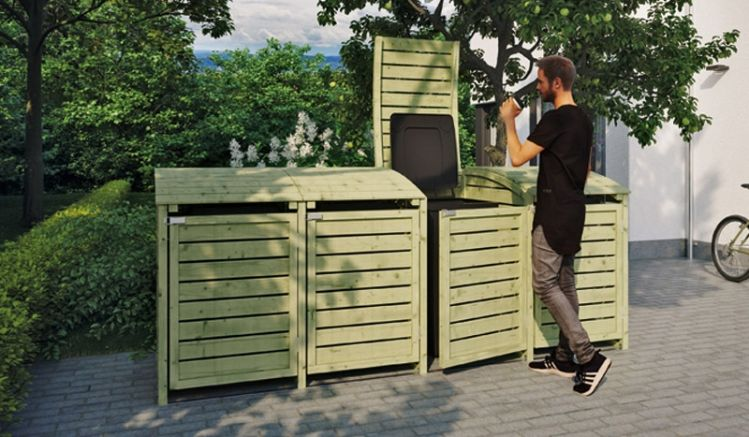 Die 300 x 90 x 120 cm Mülltonnenboxen verstecken elegant bis zu vier 240 Mülltonnen, die Keselldruckimprägnierung des Holzes sorgt für eine lange Lebensdauer.