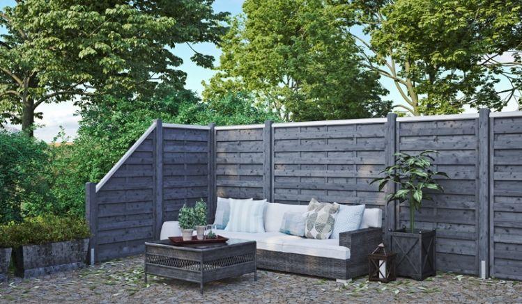 """Die grau lasierten """"Wismar"""" Zaunelemente aus Kiefer-/Fichtenholz gibt es in 6 Ausführungen (blickdicht o. mit Rankgitter). Sie bieten viele Gestaltungsmöglichkeiten für Ihren Outdoorbereich."""