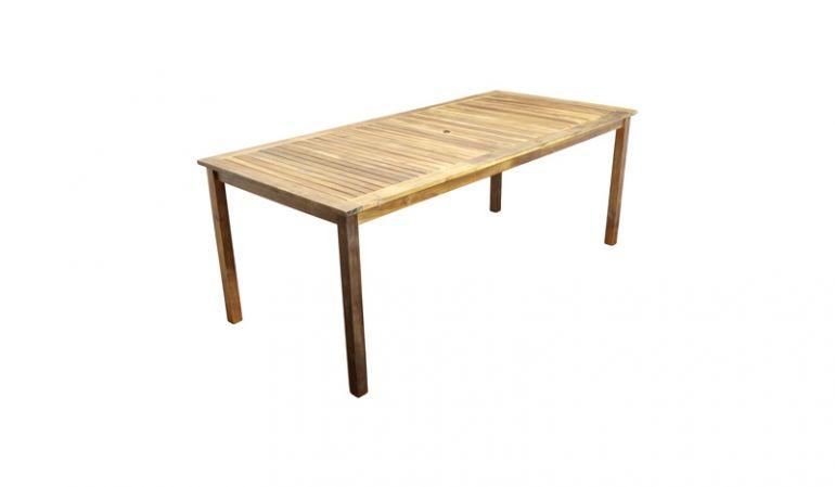 Das witterungsbeständige Hartholz Akazie ist so robust wie Teak. Der Gartentisch kann problemlos die ganze Saison im Freien stehen