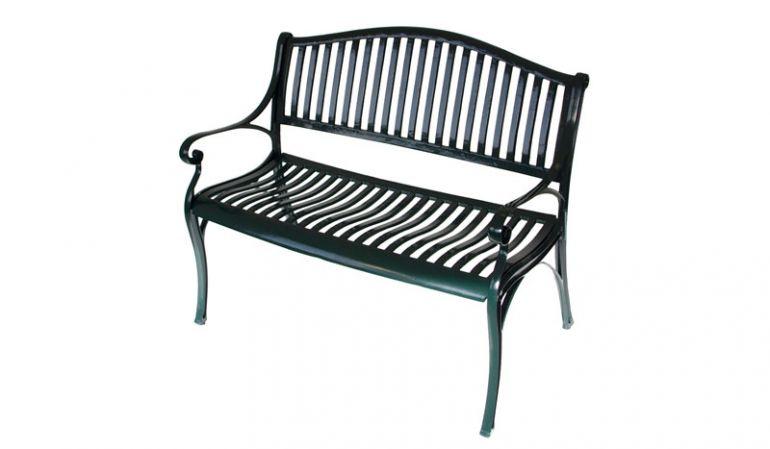 Gartenbank als 2-Sitzer aus rostfreiem Aluguss in grauer Antik-Optik mit geschwungener Lehne