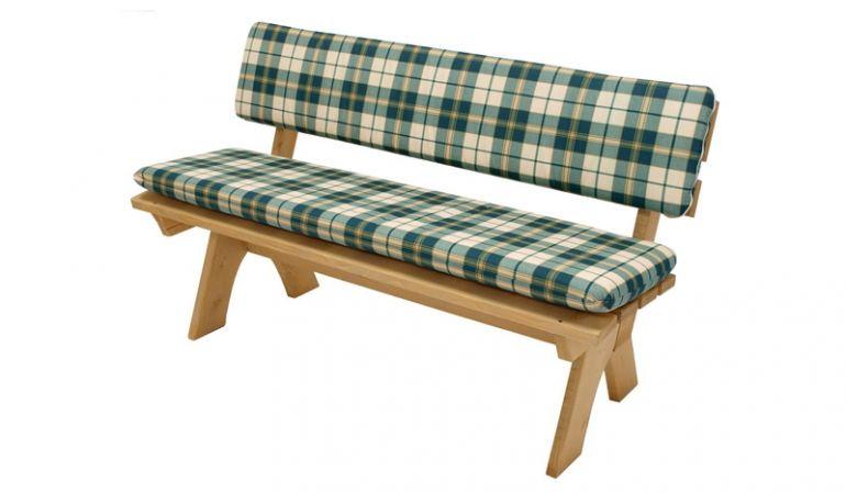 120 x 40 cm Sitzkissen: 2er Gartenbank Auflagenset mit grün-beige karierten, abnehmbaren und waschbaren Bezügen aus 100 % Baumwolle