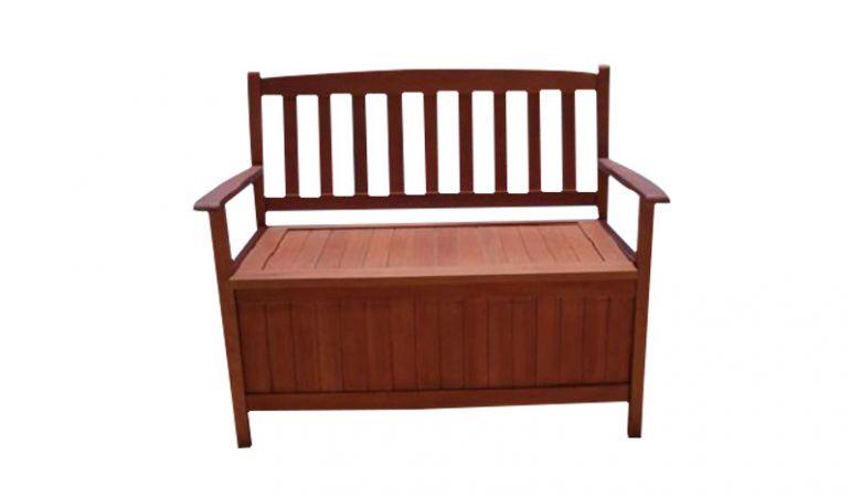 2er Banktruhe aus Holz mit Arm- und Rückenlehne sowie Truhendeckel als Sitzfläche.