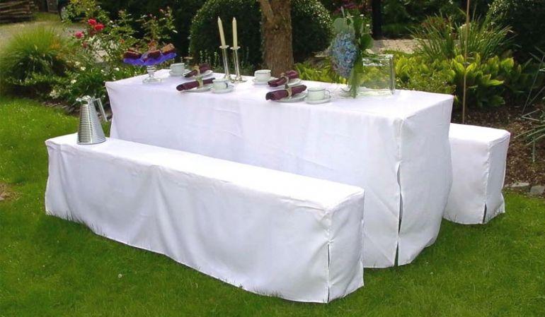 3-teiliges Bierzeltgarnitur Hussen Set für Bänke mit 25 cm Breite und Tische mit 50 cm Tiefe