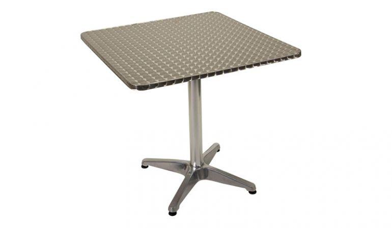 Bistrotisch aus Metall mit Edelstahltischplatte und Alu-Untergestell.