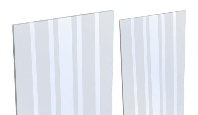 Der BPC Glaseinsatz (ESG) ist mit einem Blockstreifen Dekor verzierrt. Das Maß beträgt 180 x 15/30 x 0,4 cm.