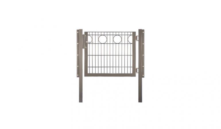 Drahtzaun Tür mit einer Breite von 100 cm und mit Kreisapplikation in feuerverzinkt, grün oder anthrazit pulverbeschichtet erhältlich