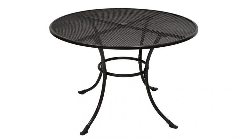 Runder Gartentisch aus robusten Streck-Metall mit eisengrauer Beschichtung.