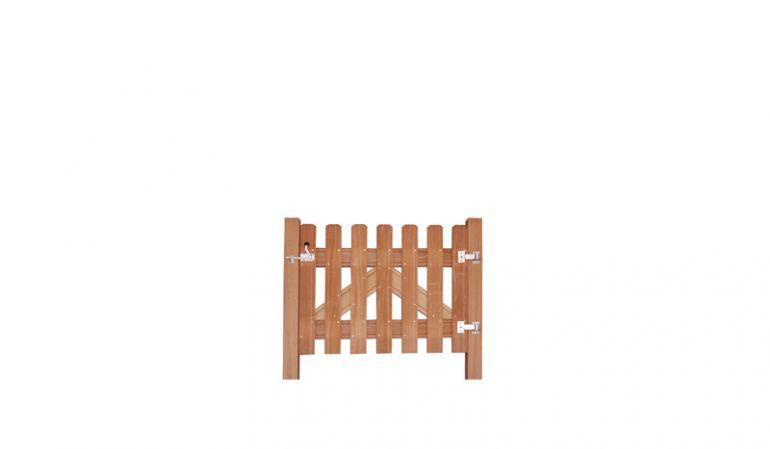 V2A Gartentorbeschlag für Premium Gartentore wie beispielsweise Bangkirai, bestehend aus Bändern, Türöffner und Schrauben