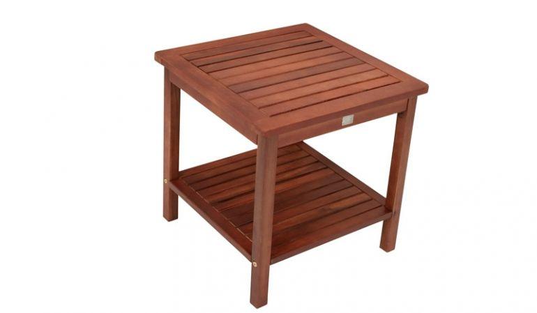 Dunkelbrauner 45 x 45 x 45 cm Holz Beistelltisch mit Zwischenablage aus geöltem Eukalyptus