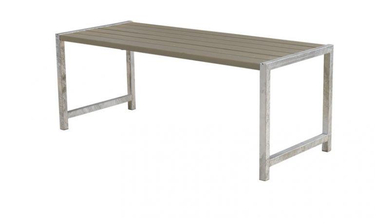 186 x 77 x 72 cm Gartentisch aus druckimprägniertem und graubraun farbgrundiertem Holz und einem 45 x 45 mm Stahlgestell