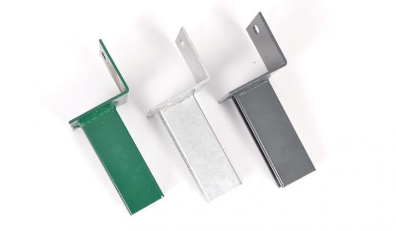 L-Stein Pfostenträger für 4 x 6cm Pfosten mit 10 x 10cm Winkelplatte