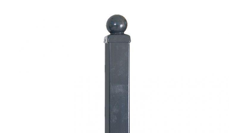 Unser Metallzaun Pfosten in Anthrazit (RAL 7016) passend zu unseren Schmiedezäunen mit Kugel als Kopf