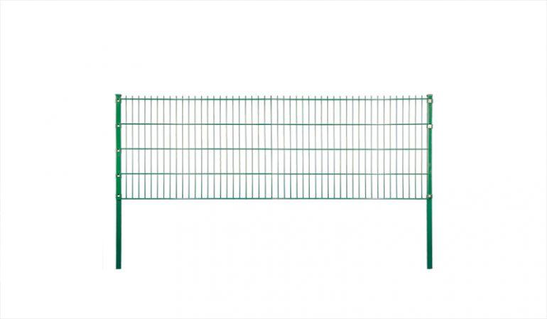 Doppelstabgittermatten-Zaun mit einer Drahtstärke von 6/5/6 mm; verzinkt und pulverbeschichtet grün.