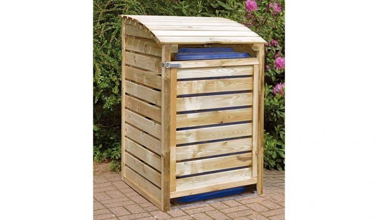 Die Mülltonnenbox im geschlossenem Zustand: 75 x 90 x 120cm, Kiefer (kdi), bis 240 Liter Tonnen, Seitenteile, Rückwand und Türen sind vormontiert.