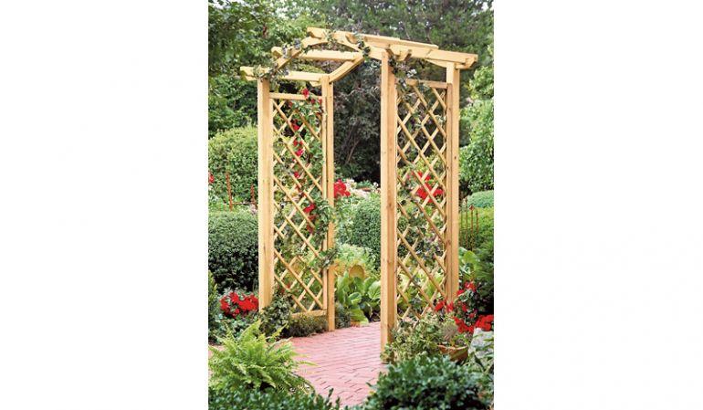 Pergola - selber Bauen Bausatz aus druckimprägniertem Holz mit Rankgitter, Durchgangsbreite 110cm