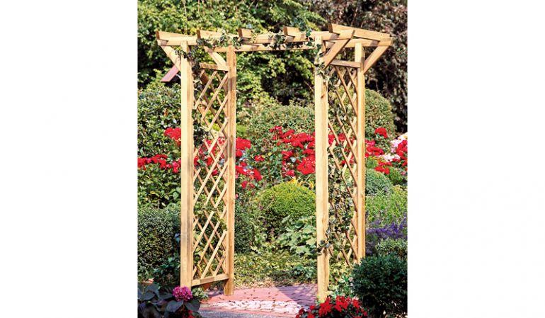 Pergola - Garten Entrèe mit Bogen und Rankgitter, aus druckimprägniertem Holz, Durchgangsbreite 120cm