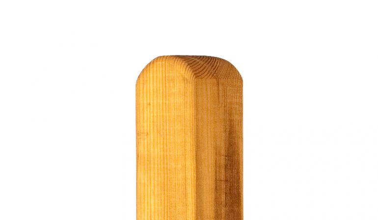 Zaunpfosten Lärche  mit Rundkopf in den Maßen 9 x 9 x 100 / 190cm