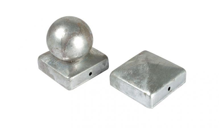 Pfostenkappen 7x7 verzinkt als Kugel und Pyramide
