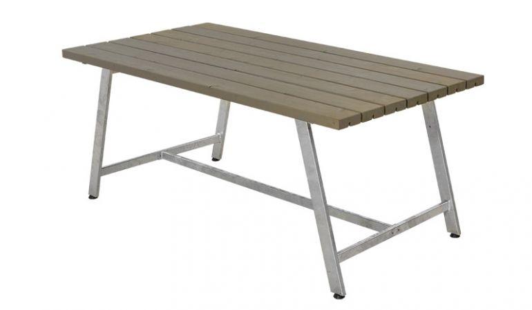 Der Holz-Gartentisch ist 87 cm breit, 73 cm hoch und in 177 / 207 cm Länge verfügbar