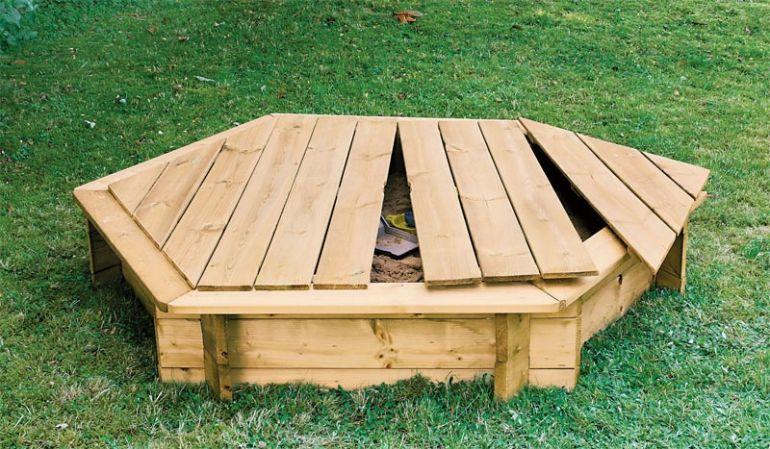 Holzabdeckung für den Sandkasten: 4-teilig, 19 mm, ∅ 200 cm, sechseckig, Kiefer druckimprägniert