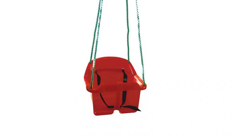Schaukelsitz Baby aus rotem Kunststoff mit Sicherheitsgurt und Polyseilen