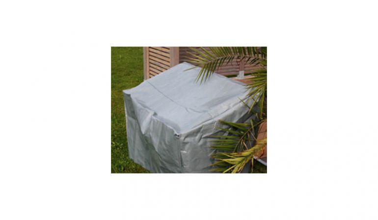 Schützhülle für 2er Gartenbank, 130 x 70 x 65/90 cm (B x T x H) aus schwerer PE Folie (250 g/m2) mit 8 Ösen (jeweils 2 an jeder Ecke)