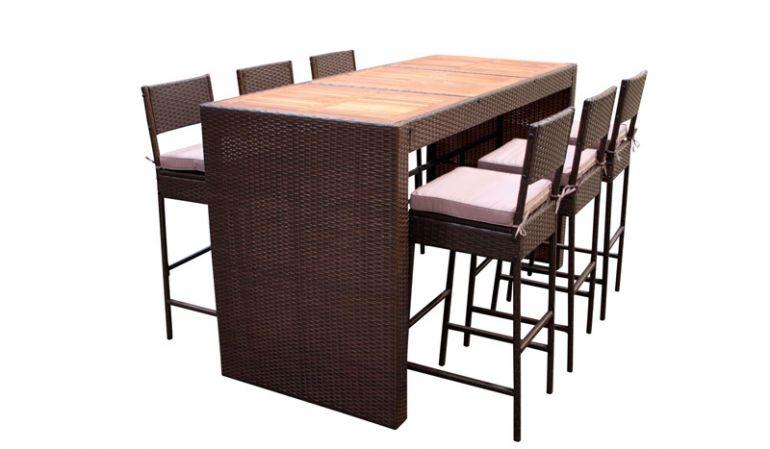 Das wetterfeste Terrassen Barset Cantina aus FSC®-zertifiziertem, geölten Akazienhartholz und witterungsbeständigem Polyrattan ist für den Innen- und Außenbereich geeignet. Es besticht durch die hochwertige Verarbeitung und die elegante Optik.