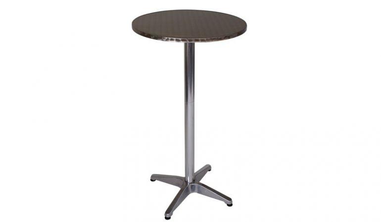 Bistro Stehtisch mit runder Edelstahl-Tischplatte im 60 cm Durchmesser.