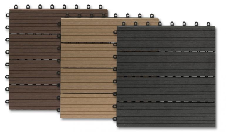 WPC Balkonfliesen aus Bambusholz/Kunststoff, im 10er PAck (ca. 0,9 m2), 30 x 30cm, wetterfest