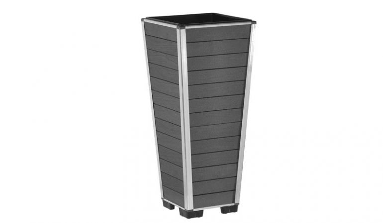 Wetterfest und UV-beständig: WPC Pflanzkübel mit gerundeten Aluminiumkanten, erhältlich in den drei trendigen Farben Anthrazit, Braun und Hellbraun