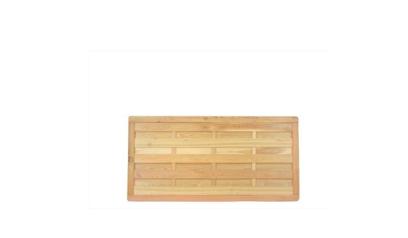 Die Dichtzäune mit dem Maß 180 x 90 cm aus sibirischer Lärche, die Lamellenzäune sind Edelstahl verschraubt und bieten durch die massiven Rahmenhölzer und die guten Eigenschaften der sibrischen Lärche eine lange Haltbarkeit