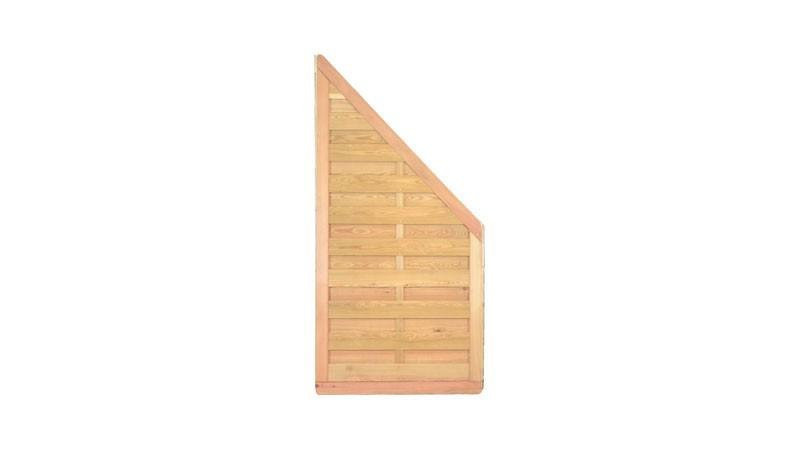 Der Zaun Abschluss der Dichtzäune aus sibirischer Lärche hat ein Maß von 90 x 180 auf 90 cm, ist Edelstahl verschraubt und bietet aufgrund der guten Holzeigenschaften eine lange Standzeit